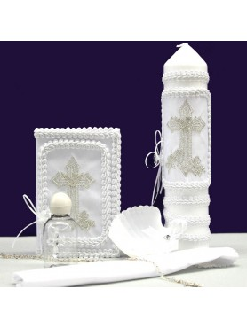 Ivan Cross Candle Set: Silver w/ Soft White