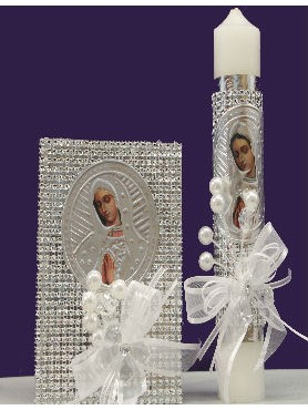 Diamond Virgin Mary: Baptism, First Communion Candle Set