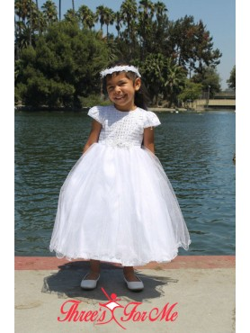 Natie White Cap Sleeve Baptismal Dress