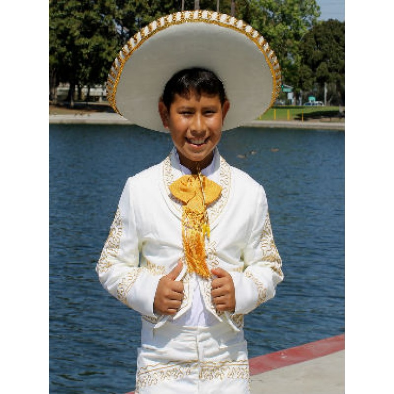 White and Gold Mariachi Charro Suit Available at Three\'sForMe.com