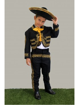 Mariachi Suit Black w/Gold Embroidery