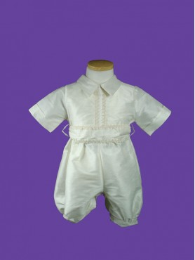 Baptism Boy Romper Ivory 2pc 5.1