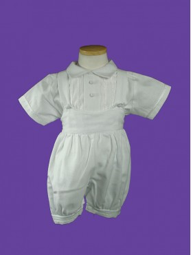 Baptism Boy Romper White 2pc