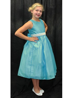 Blue Elegant Flower Girl Dress w/ Pearls