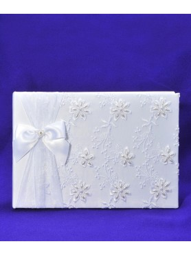 Guest Signature Book Flower White