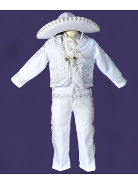 Mariachi Suit White w/Silver Embroidery
