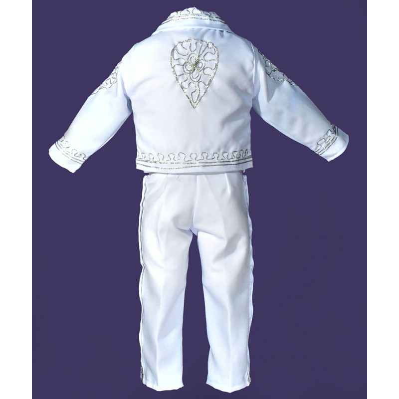 Mariachi Suit White W Silver Embroidery