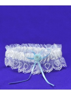 Brides White Garter w/ Blue Ribbon