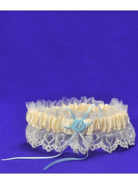 Brides Garter Ivory w/ Blue Ribbon