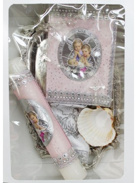 Angel Doll Pink Candle Set: Baptism/ First Communion
