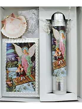 Guardian Angel: Silver Candle Set