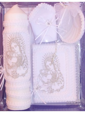 Virgin Mary and Pope Candle Set: Soft White w/ Silver