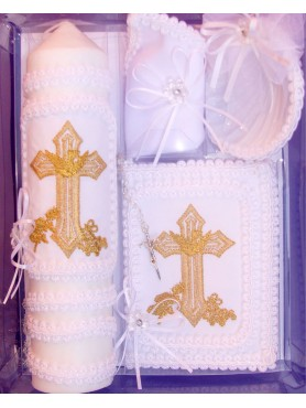 Ivan Cross Candle Set: Gold w/ Creamy Ivory