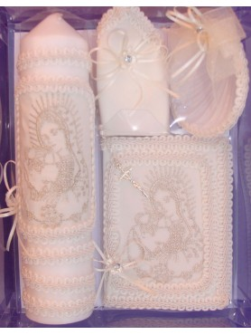 Virgin Mary and Pope Candle Set: Creamy Ivory
