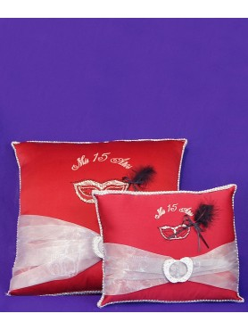 XV Kneeling Pillow and Crown Pillow Red Masquerade