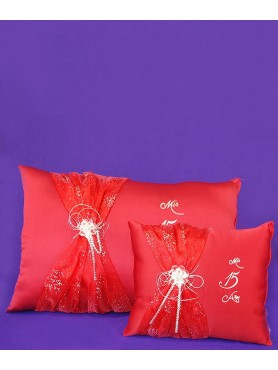 XV Kneeling Pillow and Crown Pillow Red